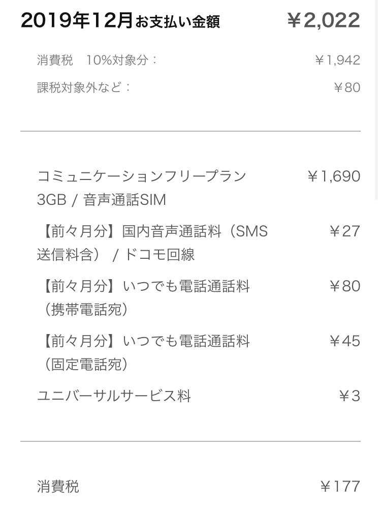 2019年12月LINEモバイル料金明細