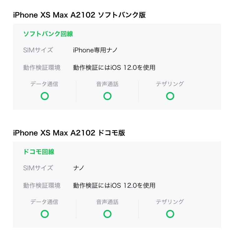LINEモバイル iPhone XS Max対応状況2