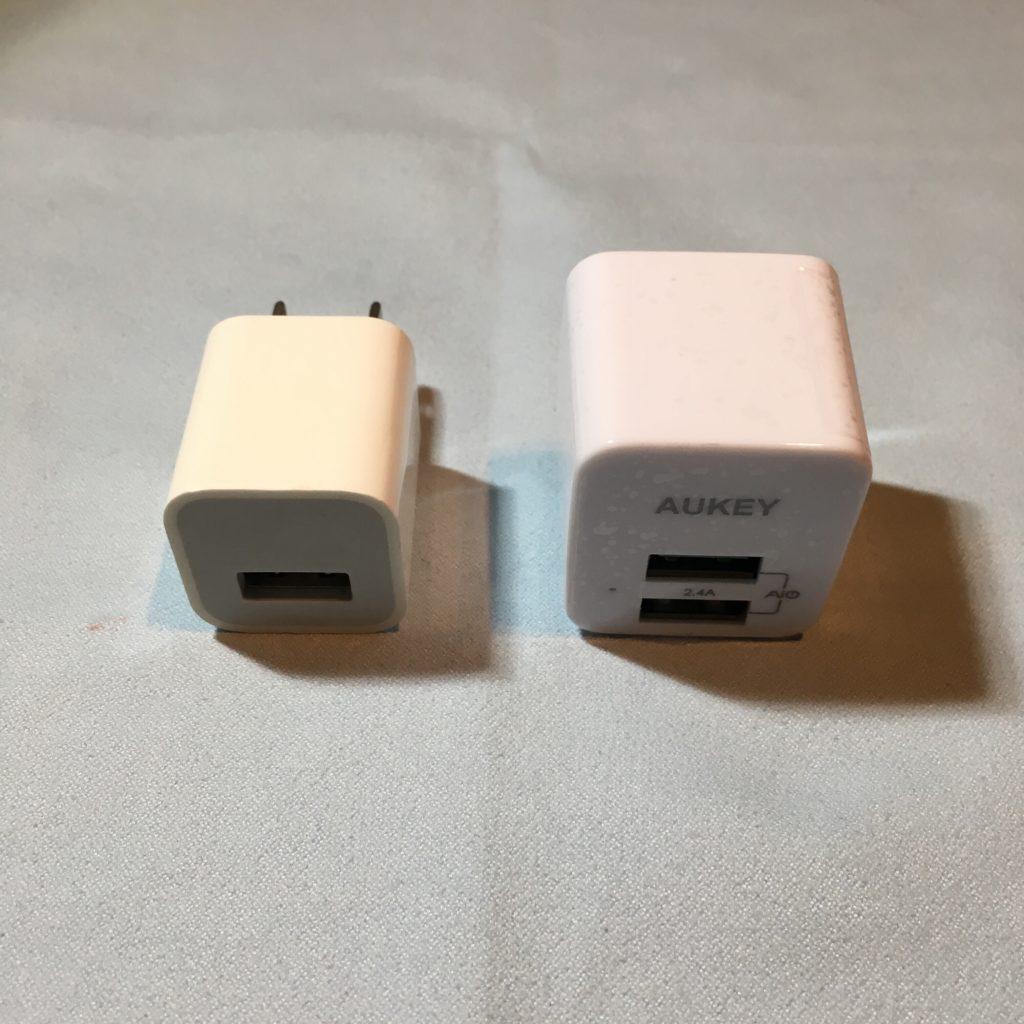 PA-U32とiPhoneに付属のACアダプター