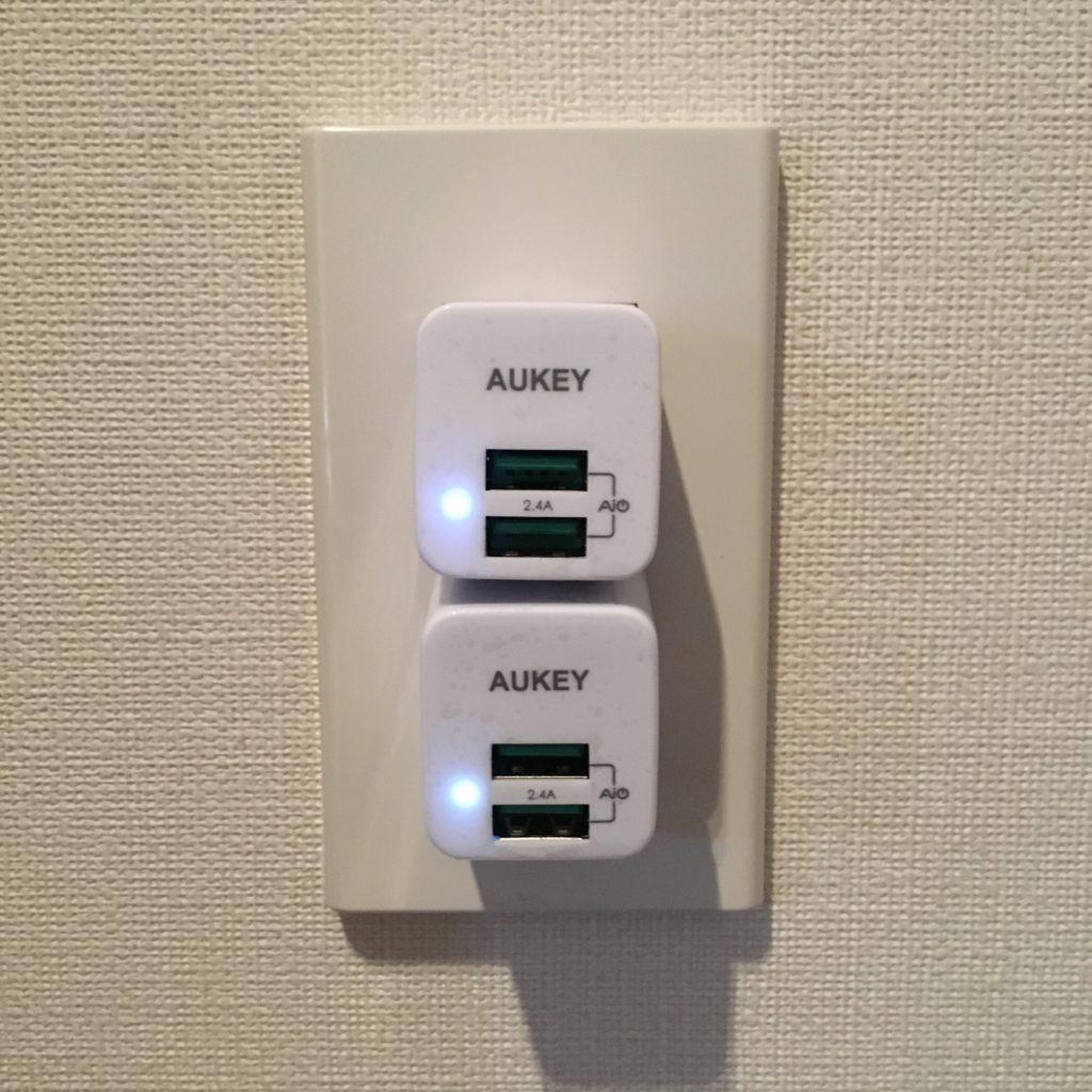 AUKEY(オーキー) PA-U32を2個並べてコンセントに差す