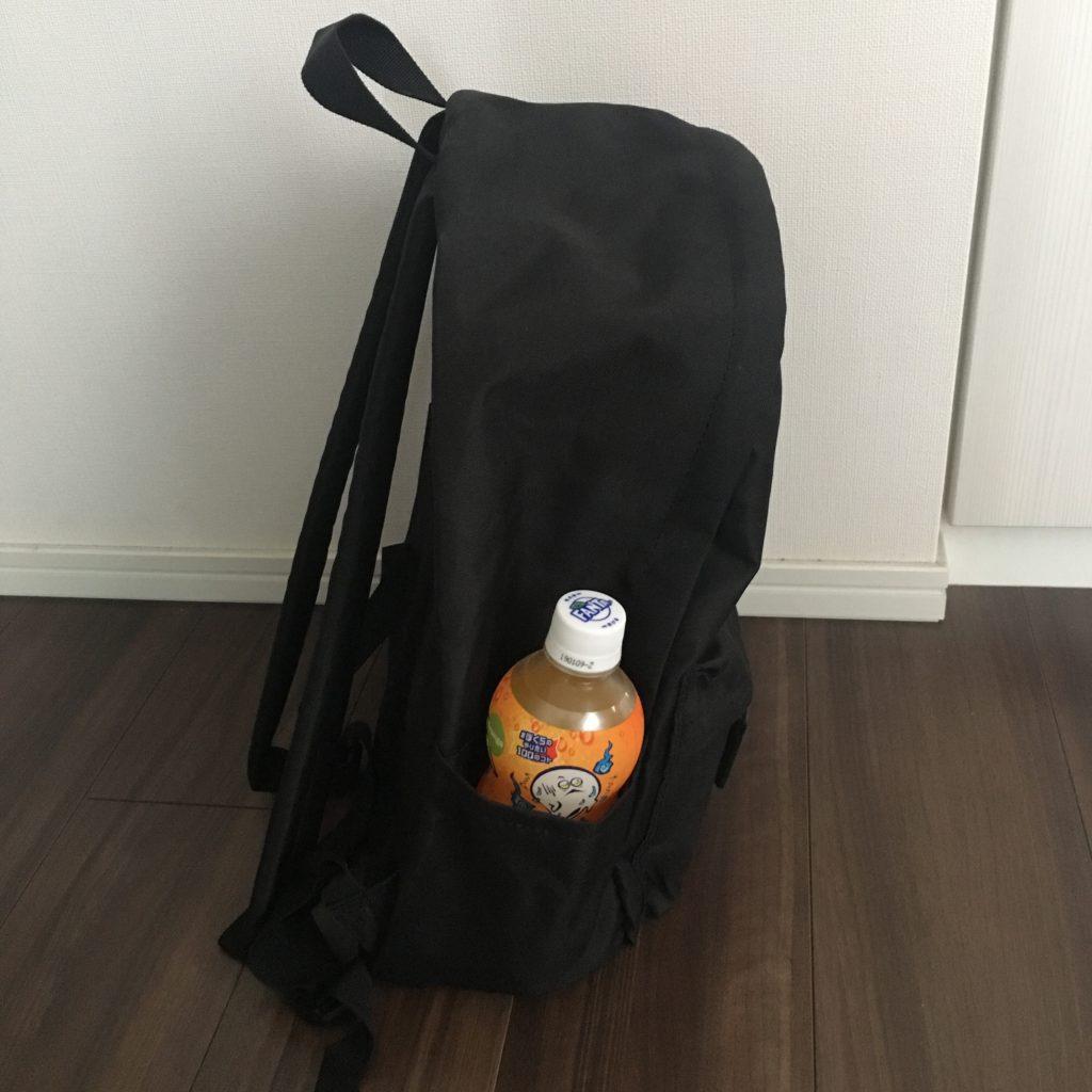 Amazonベーシック バックパック クラシックのサイドポケットにペットボトルを入れる