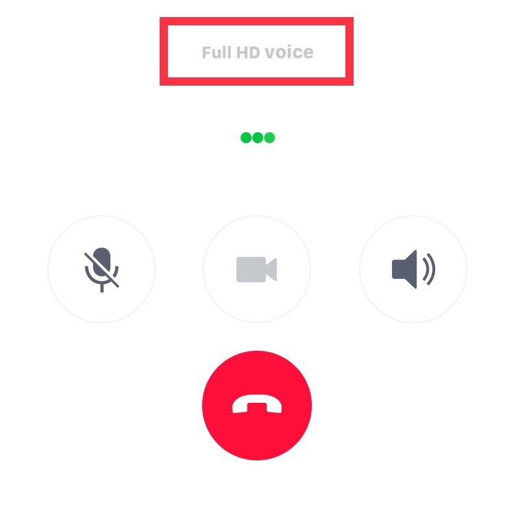 無料通話画面のFull HD voice