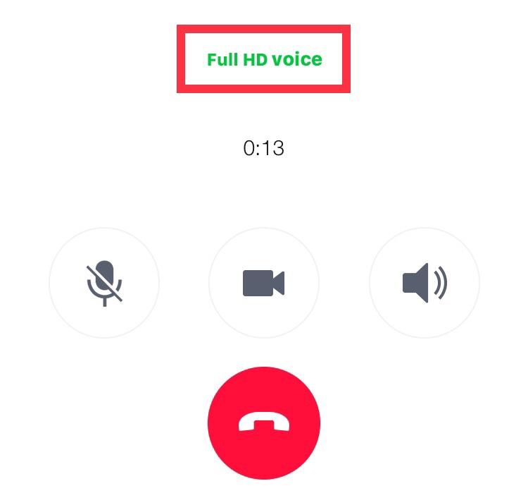無料通話画面のFull HD voiceが緑に
