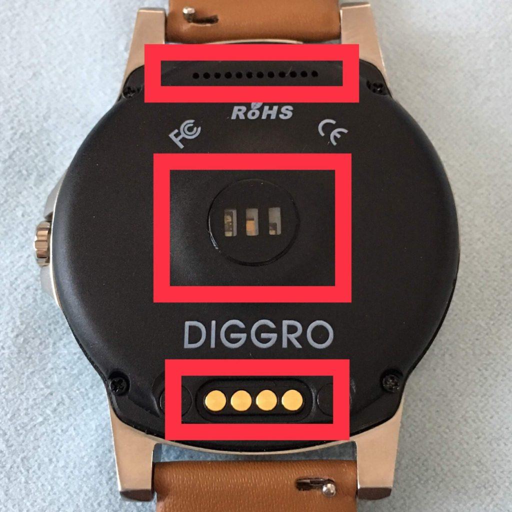 Diggro DI03 Plusの文字盤裏