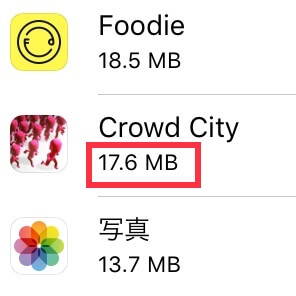 5分間Crowd Cityで遊ぶと消費するデータ通信量