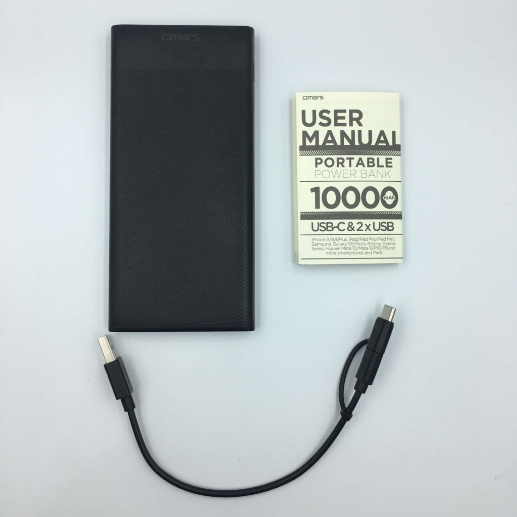 Omars Ultra Slim Power Bank 10000mAhの付属品①
