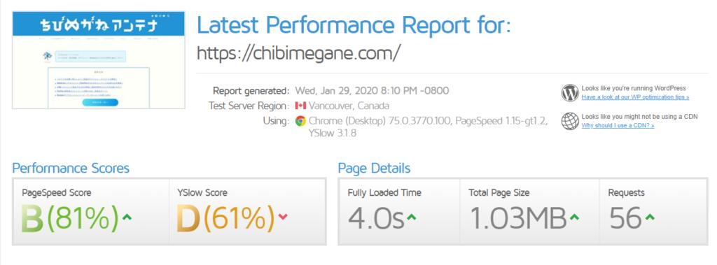 GTmetrixの評価