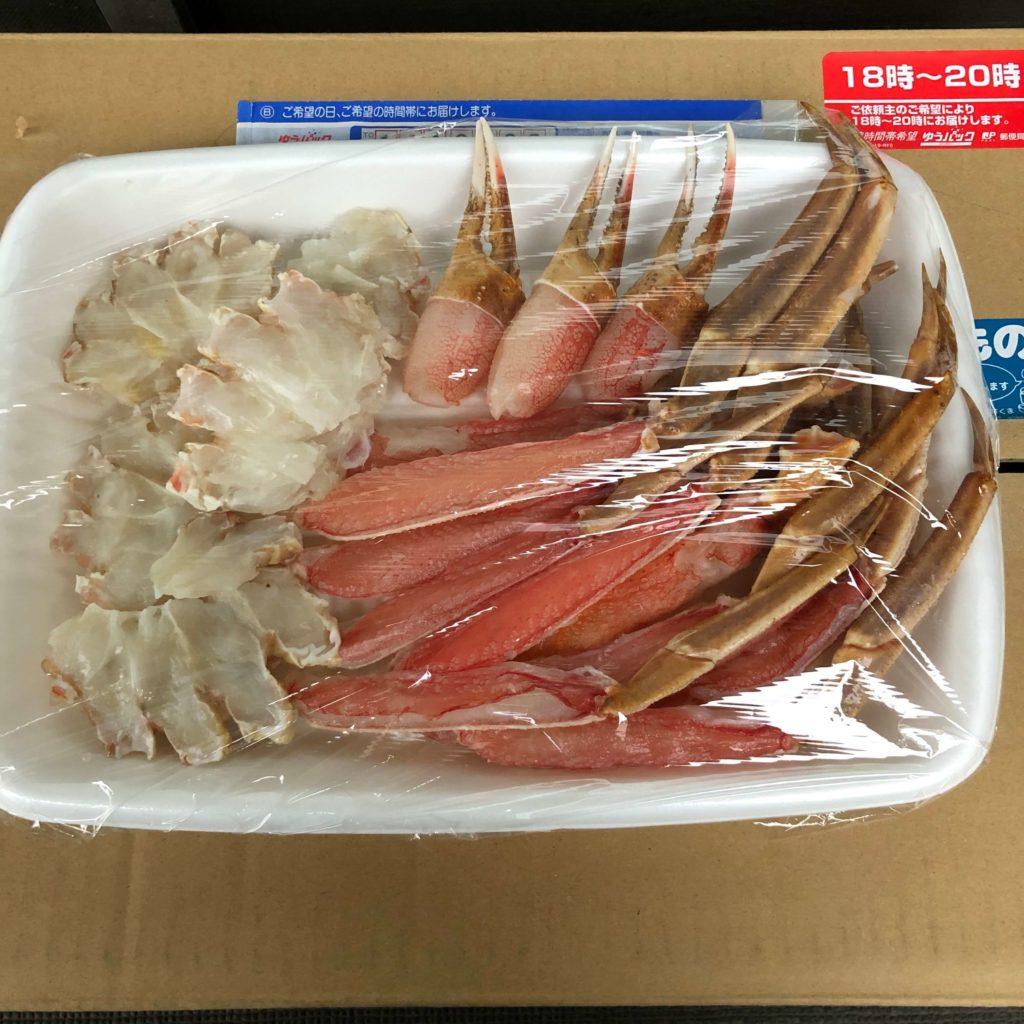 ずわい蟹を1時間ほど解凍