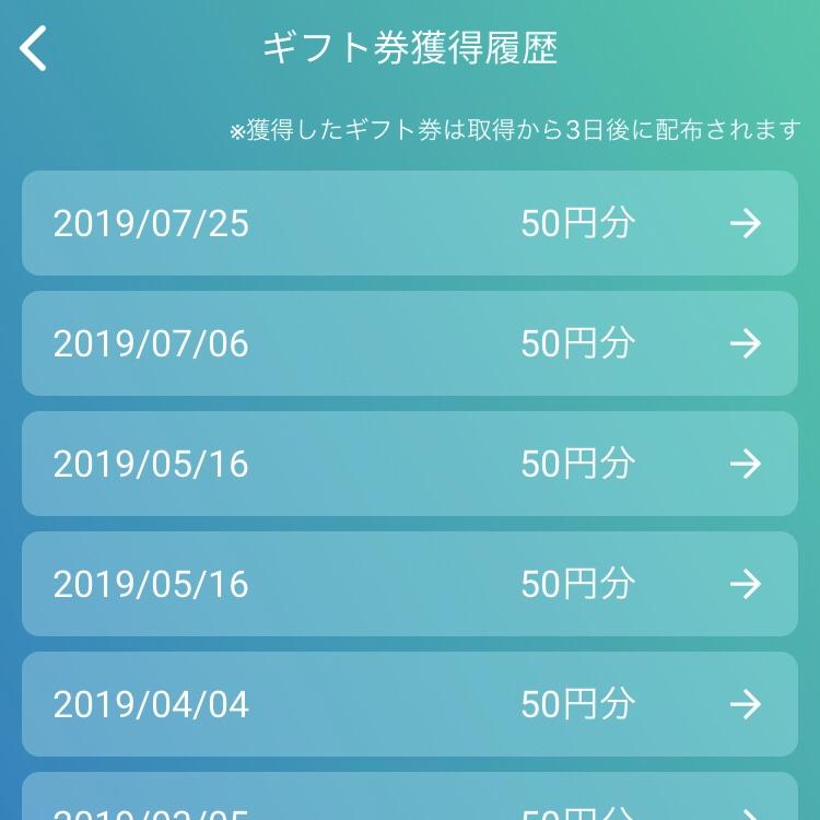 WalkCoinAmazonギフト券獲得履歴