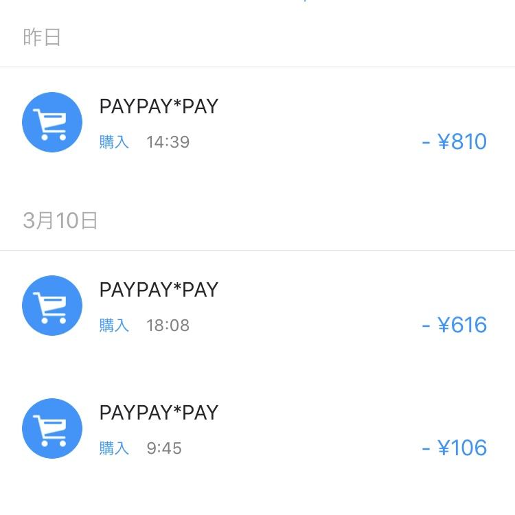 PayPayにKyashを登録して利用した明細