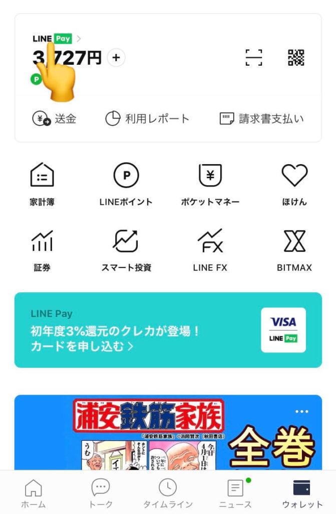 LINE Payメイン画面の表示