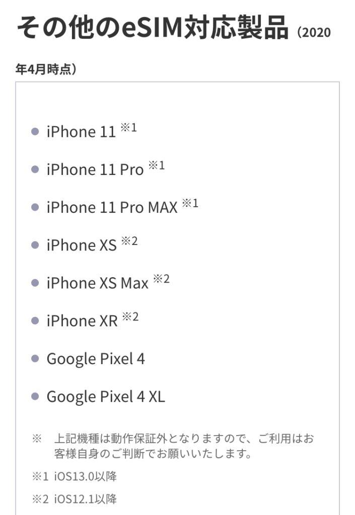 Rakuten UN-LIMITのe-SIMはiPhoneXR以降が対応製品