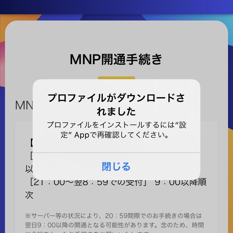 APN構成プロファイルのダウンロード②