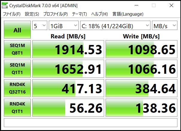 SSDのデータ転送速度計測