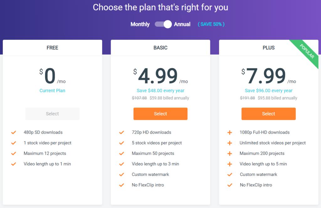 FlexClip無料版と有料版の違い