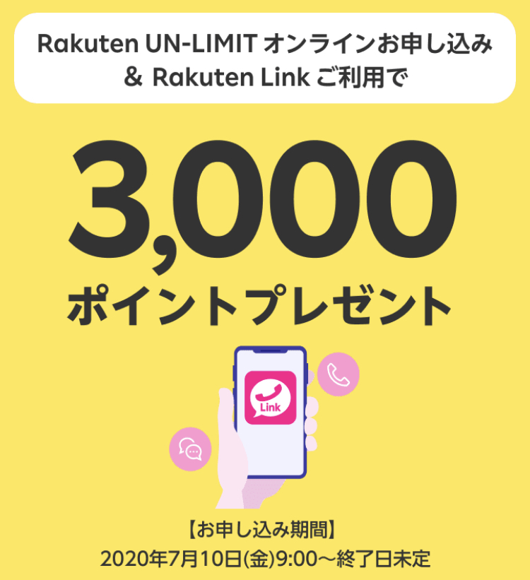 楽天モバイル3,000ポイントプレゼント