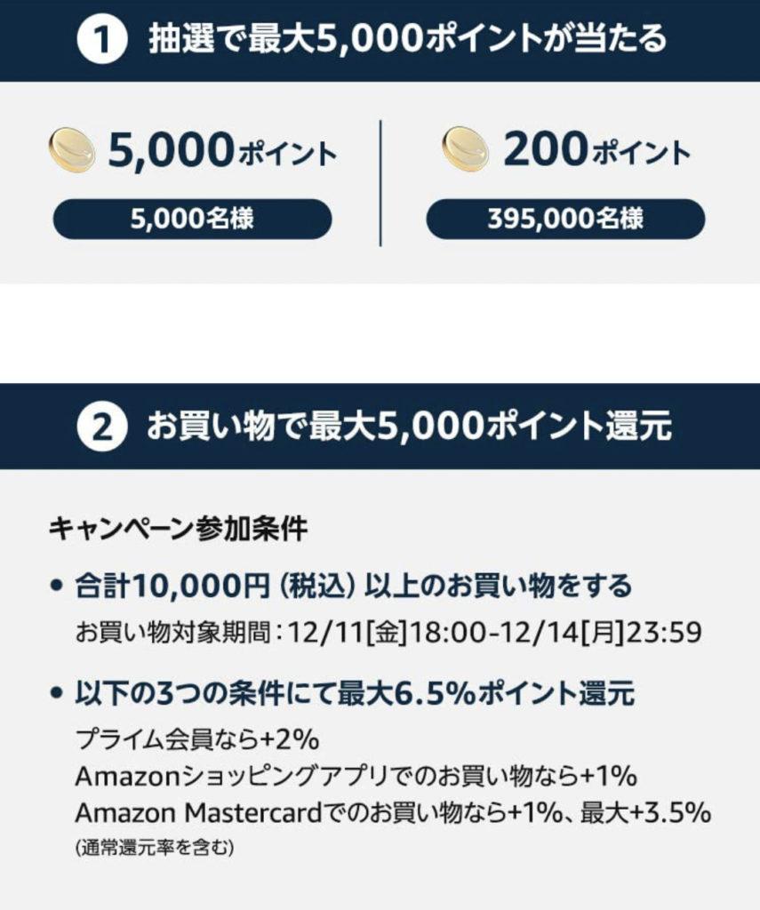 抽選でAmazonポイントが5,000円相当当たる
