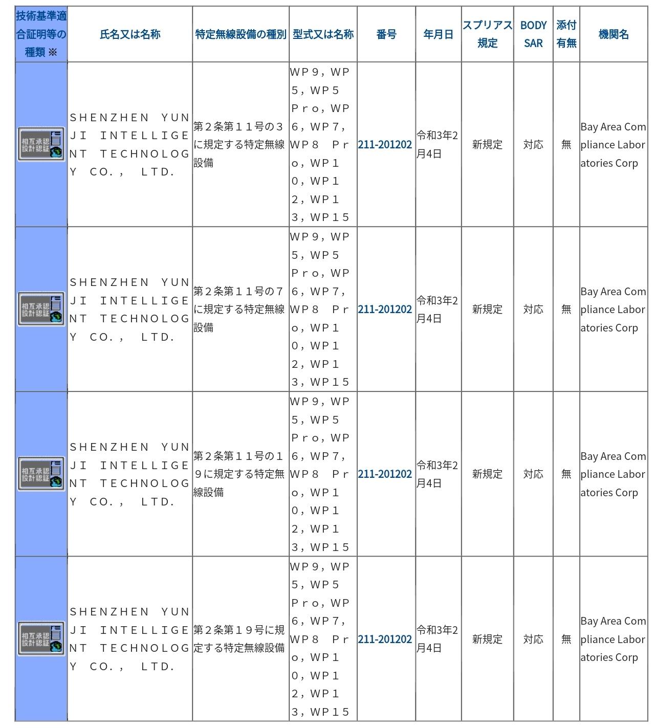 OUKITEL WP10の技適