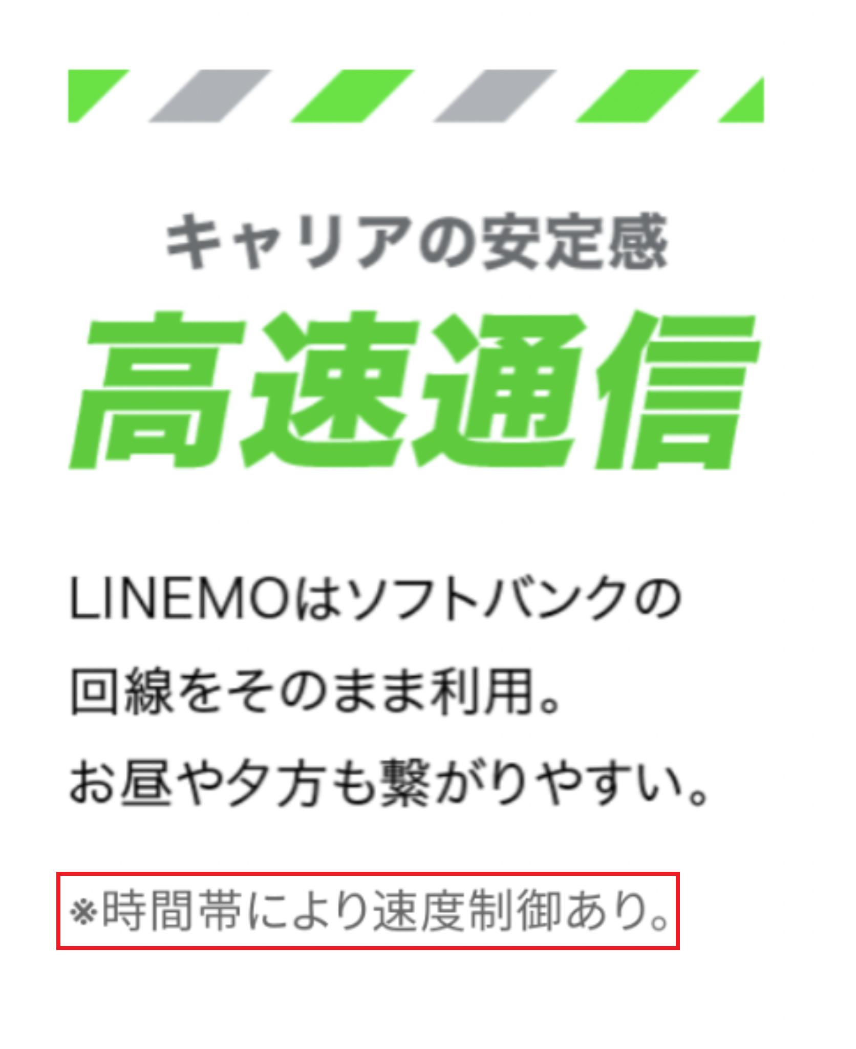LINEMOの速度制限