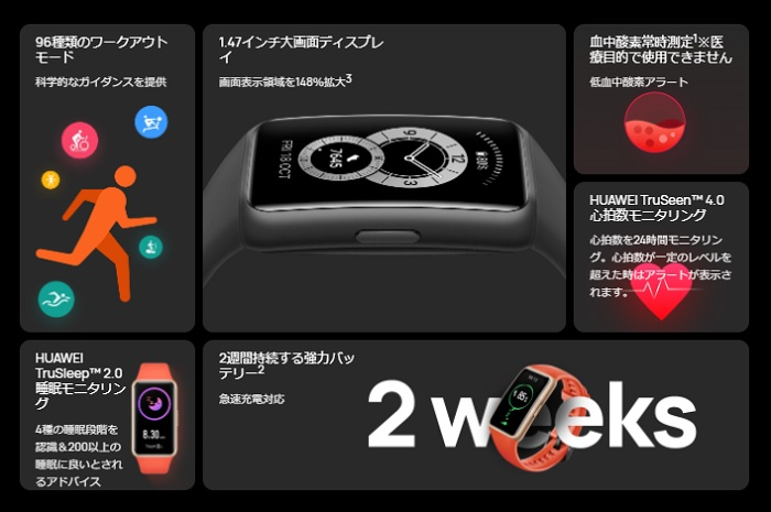 HUAWEI Band 6のスペック