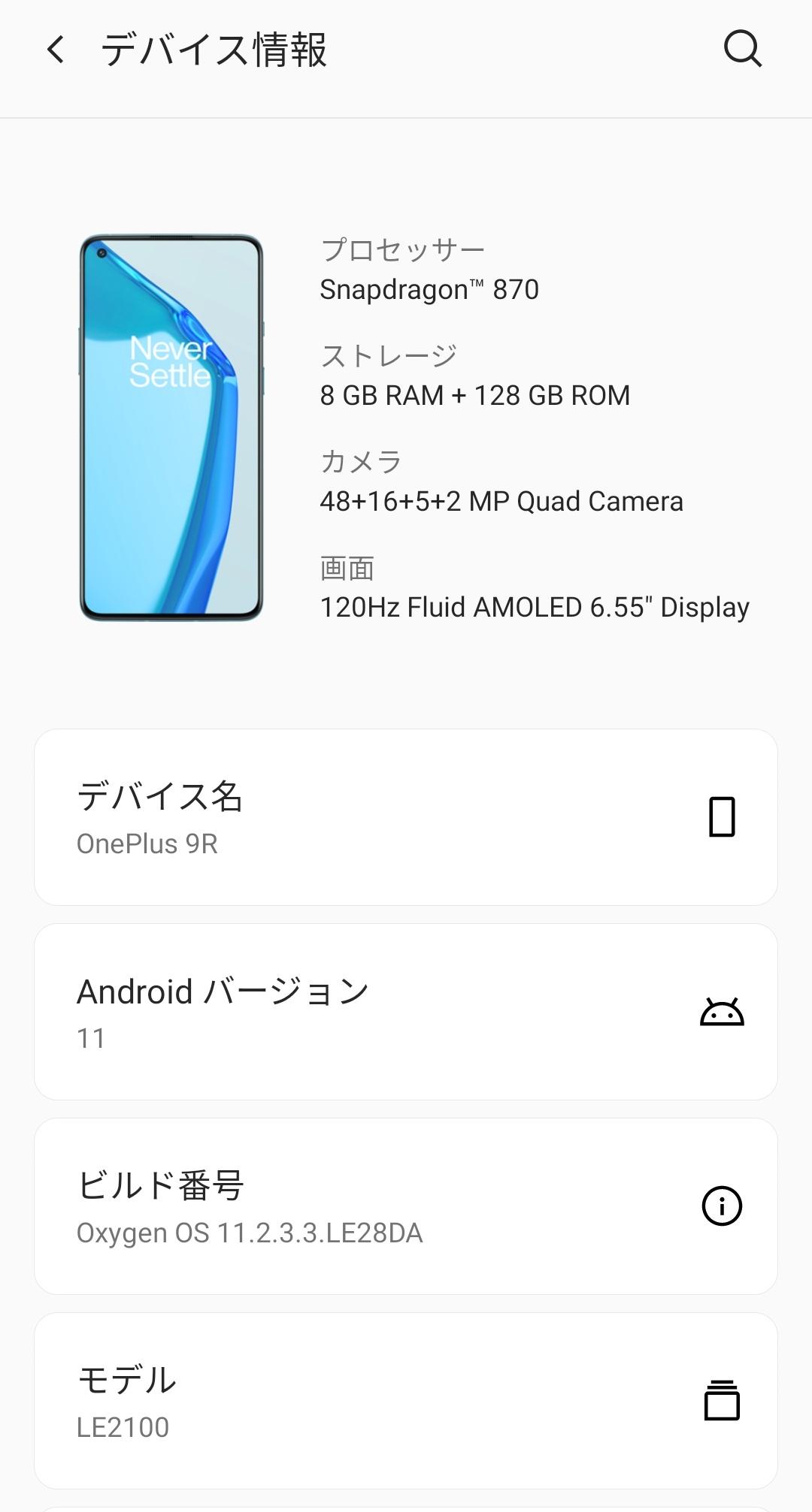 OnePlus 9Rのシステム情報