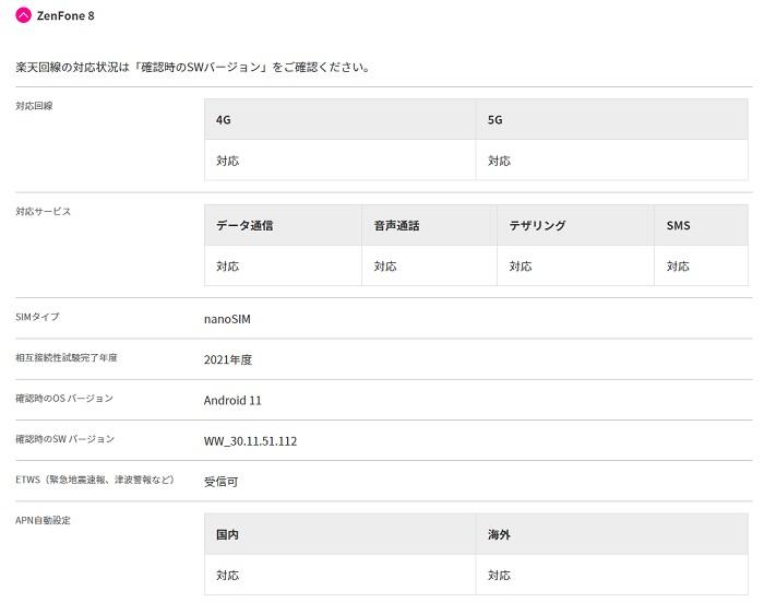 Zenfone 8は楽天回線対応端末