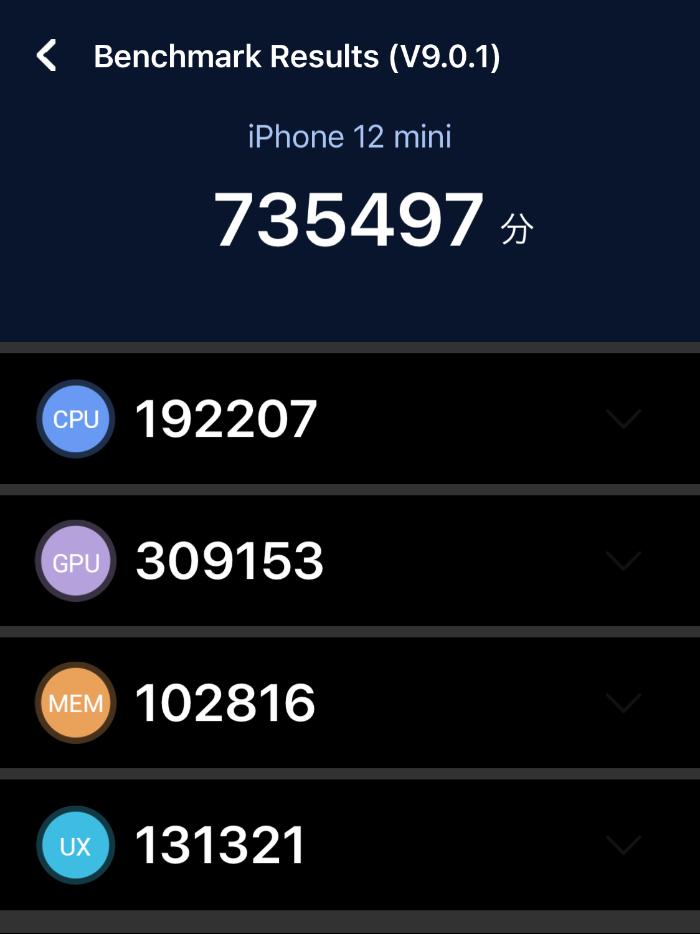 iPhone 12 miniのAnTuTuスコア