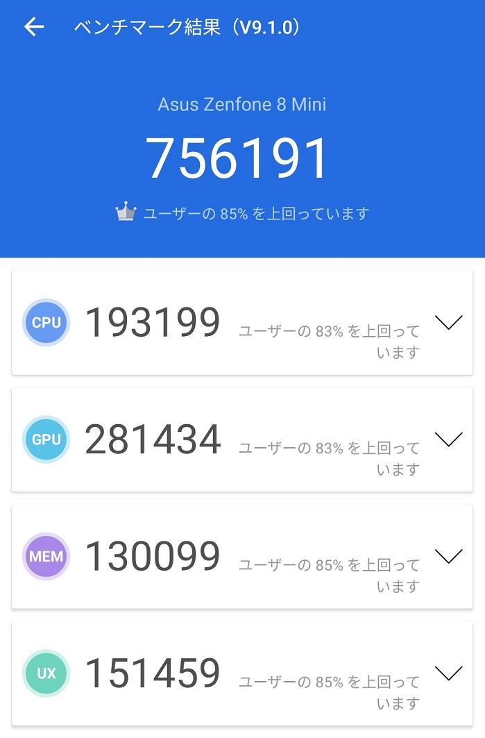 Zenfone 8のAnTuTuベンチマークスコア